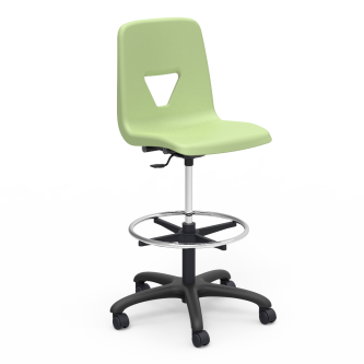 2000 Lab Stool with foot ring, pedestal base, five prong hooded swivel casters, and soft plastic chair bucket