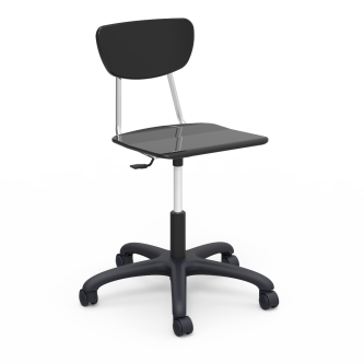 3000 Task Chair with pedestal base, five prong hooded swivel casters, and hard plastic seat and separate back