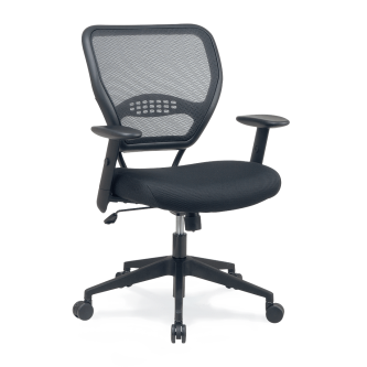 4400 Series Mesh BackTask Chair and padded seat, with arms, pedestal base, and five star prongs with hooded swivel casters.