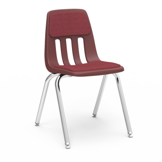 9000 4-Leg Stack Chair with an upholstered seat and back, a soft plastic seat bucket, and a steel frame.