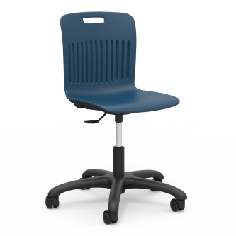 Analogy Mobile Task Chair with soft plastic seat bucket, a pneumatic mechanism for seat height adjustment, and pedestal base with five dual-wheel hooded swivel casters