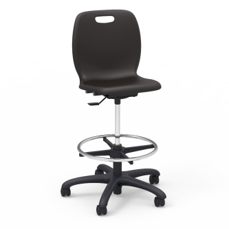 "N2 Lab Stool with a soft plastic seat bucket, a pedestal base, adjustable 18"" diameter chrome footing, and five 2"" diameter, dual-wheel, hooded swivel casters."