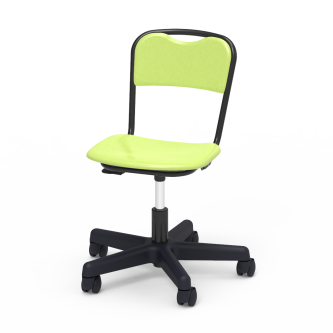 Telos Series Mobile Task Chair with a hard plastic seat and back, and a pedestal with five casters.