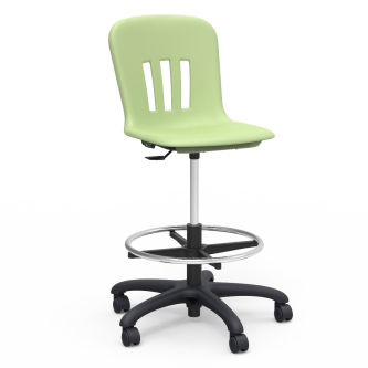 """Metaphor Lab Stool with a soft plastic seat bucket, pedestal base, adjustable footring, and five 2"""" diameter, dual-wheel, hooded swivel casters."""