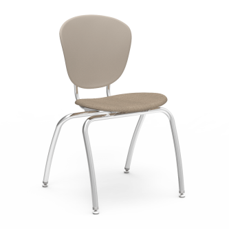 Parison 4-Leg Chair with a two piece soft plastic bucket and upholstered seat, and a steel frame.