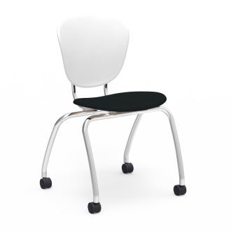 Parison 4-Leg Chair with a two piece soft plastic bucket and upholstered seat, and steel frame with casters.