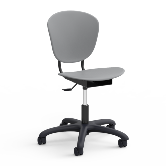 Parison MobileTask Chair with a two piece soft plastic seat bucket and pedestal base with five dual wheeled hooded swivel casters.