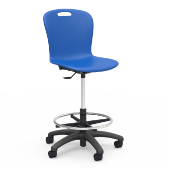 Sage Lab Stool with footring, soft plastic seat bucket, and pedestal base with five prongs and dual wheel hooded casters.