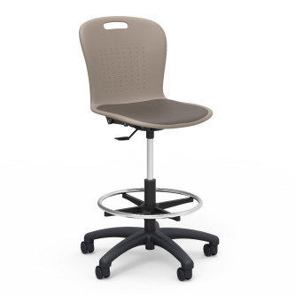 Sage Lab Stool with Padded Seat, footring, soft plastic seat bucket, and pedestal base with five prong dual wheeled hooded casters.