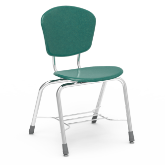 ZUMAfrd Series 4-Leg Chair with a hard plastic seat and back, and a steel frame with bookrack.