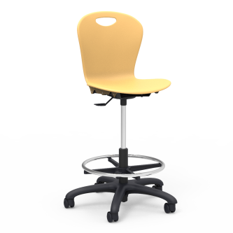 ZUMA  Lab Stool with footring, soft plastic seat bucket, and five prong dual wheeled hooded casters.