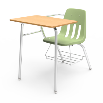 9000 Chair Desk with soft plastic seat bucket, rectangle work surface, book rack,  and steel frame