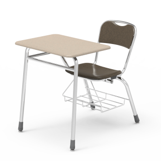 Telos Series Chair Desk with Rectangle Top work surface, a hard plastic seat and back, and a steel frame with bookrack.