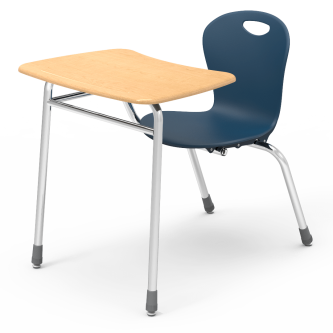 ZUMA Chair Desk with bow front shaped work surface, soft plastic seat bucket, and steel frame.