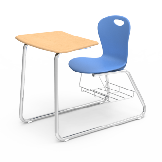 ZUMA Sled-Based Combo Unit with a soft plastic seat bucket, a bowfront work surface, and a steel frame with bookrack.