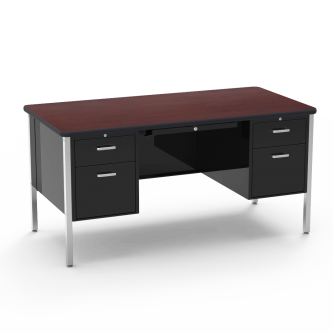 540 Teacher Desk Double Pedestal, a rectangular work surface, and a four leg steel frame.