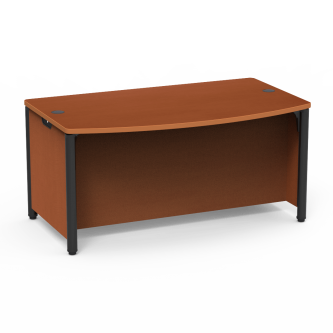 Plateau Desk with a Bowfront Top work surface and steel frame.