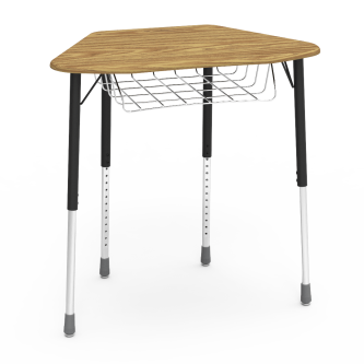 ZUMA Desk with a collaborative hexagon shaped work surface and wire basket, with a four leg steel frame.