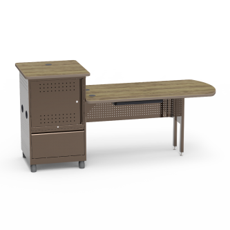 Instructor Media Station with Locking Steel Cabinet Tower and Peninsula Desk