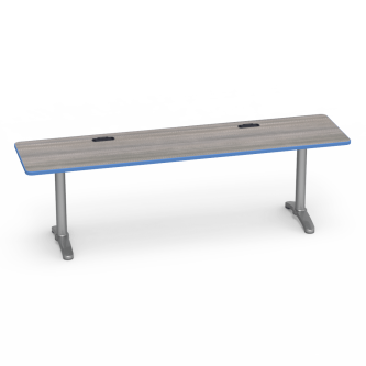 Lunada Series  Rectangular Top Seminar Table with Grommets and steel frame with bi-point feet.