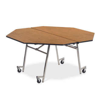 MT Series Mobile Folding Table with Octagon Top and Steel Legs with Casters