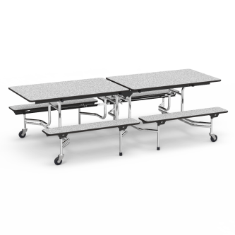 MT Series Mobile Bench Table with a rectangle top, seats 8, and a steel frame with 4 casters.