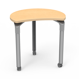 """Plateau Series Table with"""" Semi-Shape Hoop Top and Steel Legs on Casters"""