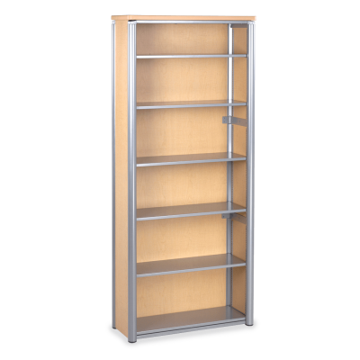 Plateau Series Bookcase with Six Steel Shelves
