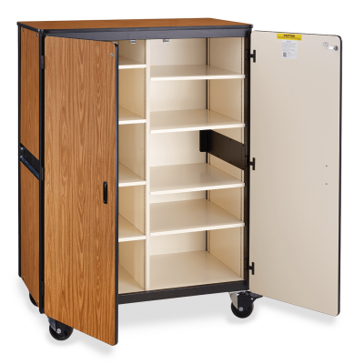 Mobile Storage Series Cabinet with Eight Adjustable Steel Shelves