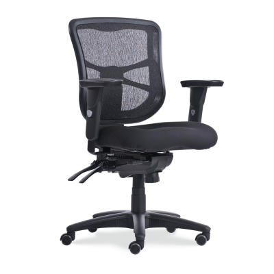 4400 Mesh Mid-Back Mobile Task Chair with arms and padded fabric seat, and a five star base with dual wheeled casters.