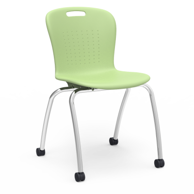 Sage 4-leg Chair with steel Civitas frame with Casters, and a soft plastic seat bucket.