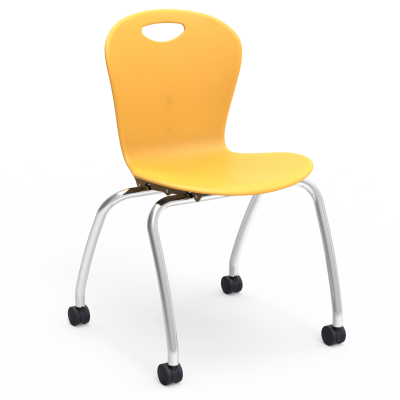 ZUMA 4-Leg Chair with a steel Civitas frame with Casters, and a soft plastic seat bucket.