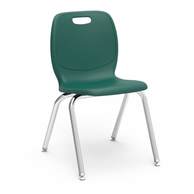 N2  4-Leg Stack Chair with a soft plastic seat bucket and steel Civitas frame.