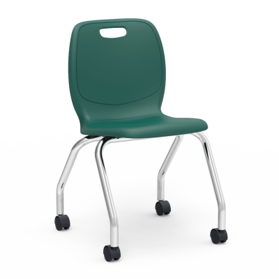 N2  4-Leg Mobile Chair with casters, a soft plastic seat bucket, and steel frame.