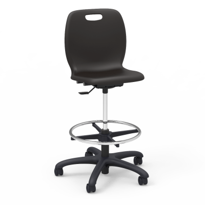 """N2 Lab Stool with a soft plastic seat bucket, a pedestal base, adjustable 18"""" diameter chrome footing, and five 2"""" diameter, dual-wheel, hooded swivel casters."""