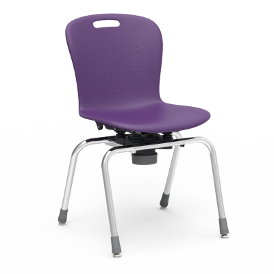 Sage Series Choose to Move 4-Leg Chair with a soft plastic seat bucket, and a steel frame.