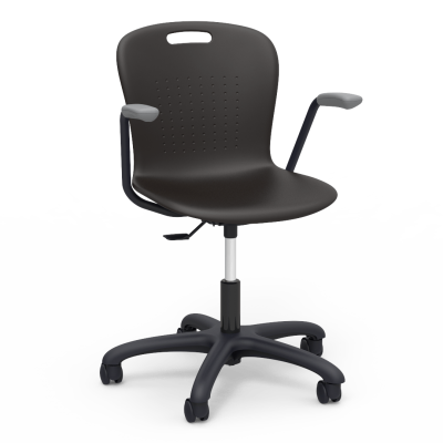Sage Mobile Task Chair with arms and a soft plastic seat bucket, a pedestal base, and five prongs, and dual wheel hooded casters.