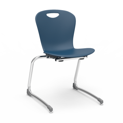 ZUMA Stacking Chair with a soft plastic bucket and cantilever steel frame.