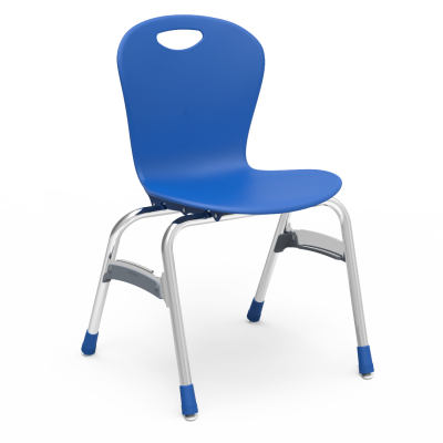 ZUMA  4-Leg Stack Chair with a soft plastic seat bucket and steel frame.