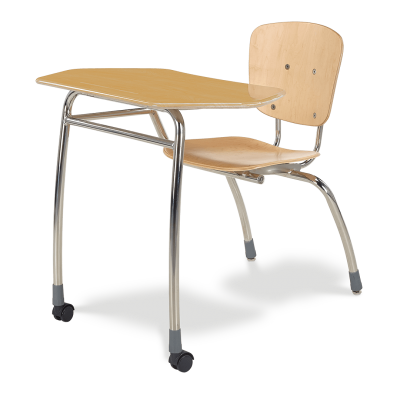 Civitas Agile Combo Unit with steel frame, two piece plywood seat and back, two casters, and a hard plastic collaborative shape high-pressure laminate work surface.