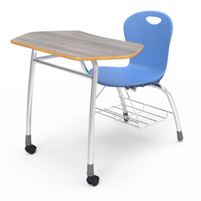 Zuma Agile Combo Unit with collaborative shape work surface, soft plastic seat bucket, and steel Civitas frame.
