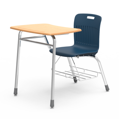 Analogy Chair Desk with soft plastic seat bucket, bowfront shaped work surface, bookrack, and steel frame