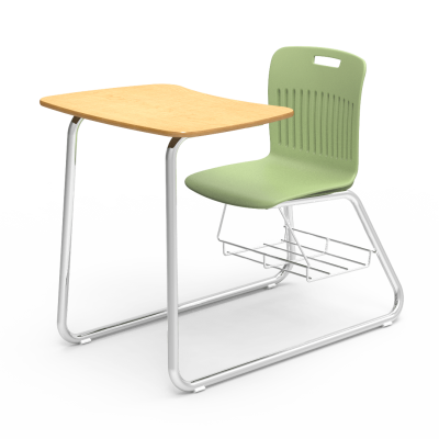 Analogy Sled-Based Combo Unit with soft plastic seat bucket, bowfront shaped work surface, bookrack, and steel frame