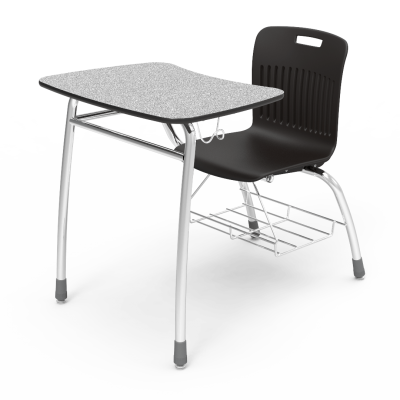 Analogy Series Chair Desk with a steel Civitas frame, a bowfront work surface, a backpack hanger, a bookrack, and a soft plastic seat bucket.