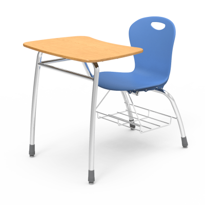 Zuma Chair Desk with bowfront shape high-pressure laminate work surface, soft plastic seat bucket, bookrack,  and steel civitas frame