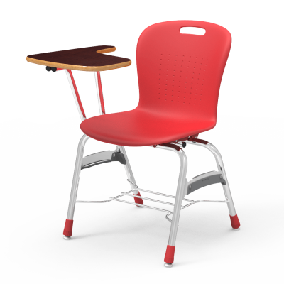Sage Tablet Arm Chair Desk with an articulating arm L shaped work surface, a soft plastic seat bucket, and a steel frame with bookrack.