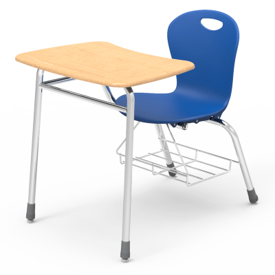 Zuma 4-Leg Chair Desk with a soft plastic seat bucket, a bowfront work surface, and a steel frame with bookrack.
