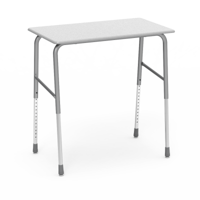723WM Desk with a rectangular hard plastic work surface and four leg steel frame.