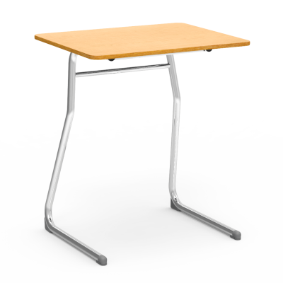 Sigma Desk with rectangle work surface and two leg steel frame.