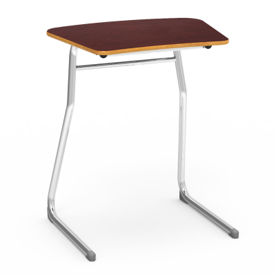Sigma Desk with Curved Top work surface and two leg steel frame.